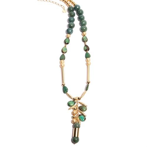 BM.C6 Colar longo Turquesa jade zion, jade verde e metais banhados a ouro