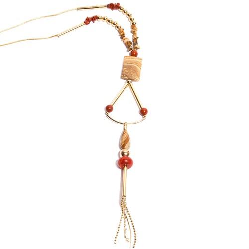 BM.C1 Colar longo pedra Jaspe madeira, Jaspe vermelho e coral com metais banhados a ouro