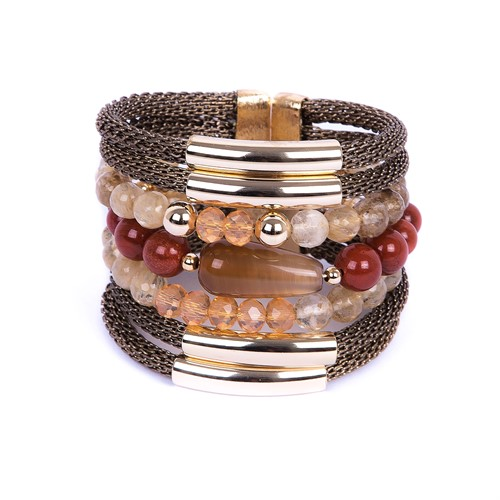 SP.BCT13 Bracelet pedras Ágata caramelo, Pedra Jaspe Vermelho, pedra Quartzo Rutilo e metais banhados a ouro