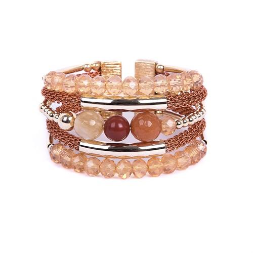 SP.BCT11 Bracelete pedras Aventurina, Pedra Jaspe Vermelho, pedra Quartzo Rutilo, Cristais e metais banhados a ouro