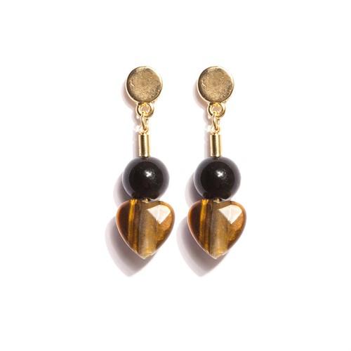 B.X152 Brinco pequeno pedra Olho de Tigre, porcelana preta italiana e metais banhados a ouro