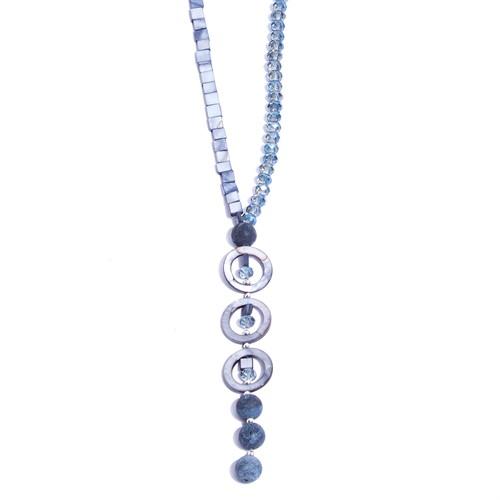 AT.C6 Colar longo madreperolas, cristais, pedra jaspe esponja e metais banhados a prata
