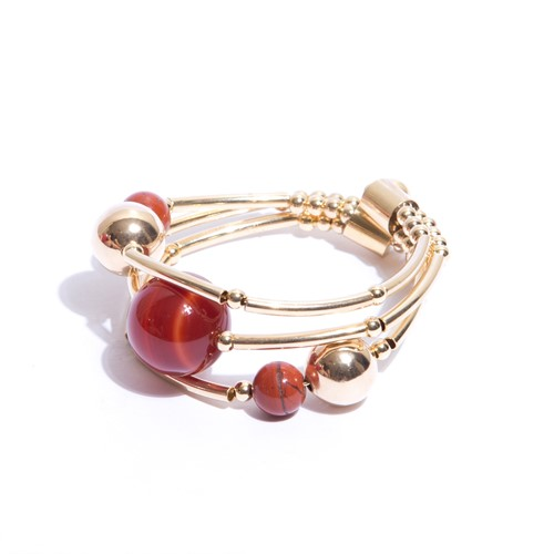 EPP.3.M.O (marrom) Puls bracelete pedras Ágata marrom e metais banhados a ouro