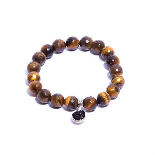 CN.P4.1 Pulseira masculina pedra Olho de Tigre, pedra cascalho e metais paladio