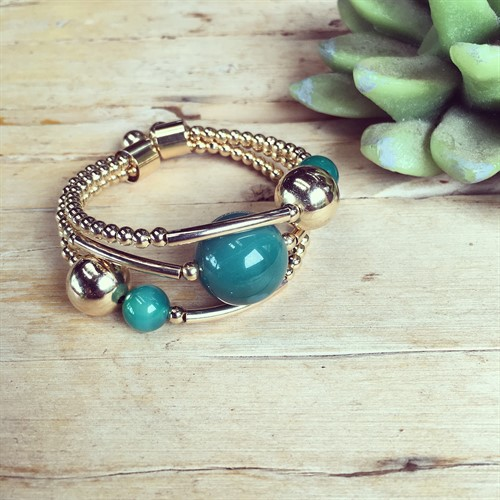 EPP.3.O (verde) Puls bracelete pedras Ágata verde e metais banhados a ouro