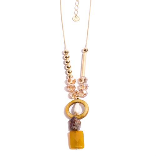 TR.C4 - Colar me´dio/longo pedra Agata mostarda, Madrepe´rolas, pedra Zionita rustica rosa, Cristais, Pedra Howlita e metais banhados a ouro
