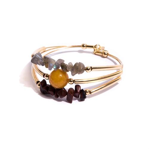 TR.P13 - Pulseira pedras Obsidiana, Jade mostarda e Labradorita com metais banhados a ouro