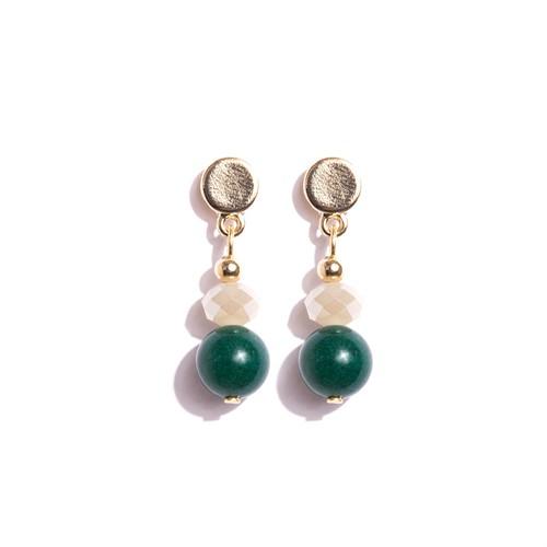 TR.B14 - Brinco pequeno pedra quartzo verde, cristais e metais banhados a ouro