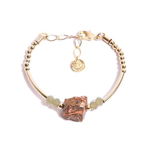 TR.P5 - Pulseira pedra Zionite rosa rustica, cristais e metais banhados a ouro