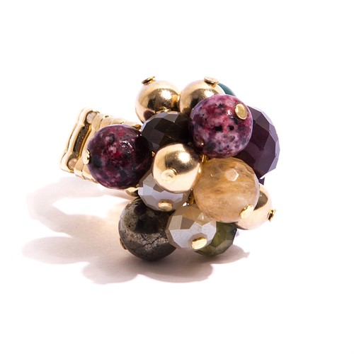 TR.A1 - Anel pedras Zionita, Quartzo, perola shell, cristais e metais banhados a ouro