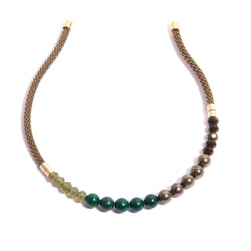 TR.T6 Tiara Pedras Quartzo verde, perolas shell, cristais e metais banhados a ouro