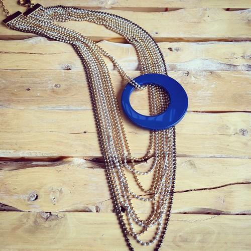 EPM.A16 (Azul) Maxi colar com Pedra Natural Ágata Azul com metais folheados a ouro, prata e ouro velho.