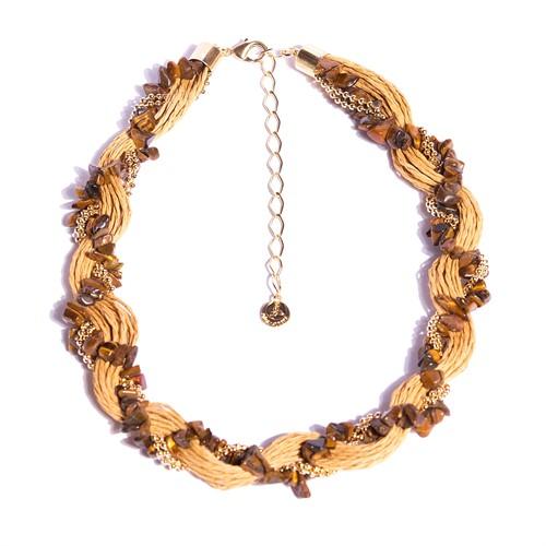 C1.AGO.1X Colar trança pedras Olho de Tigre em cascalho e fibras naturais OCRE com metais banhados a ouro