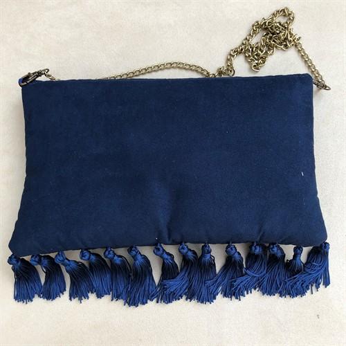 clutch7 azul marinho com bordados especiais (G)