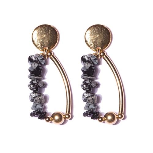 B17 Brinco pedras em cascalhos e metais banhados a ouro