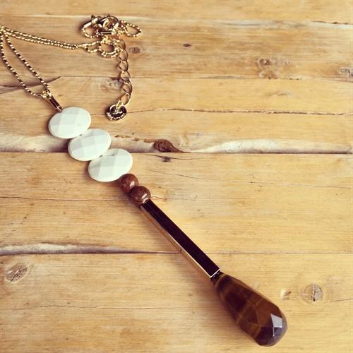 CL.13 Colar longo de disco de Howlita branca, gota de Pedra natural Olho de Tigre e metais folheados a ouro.