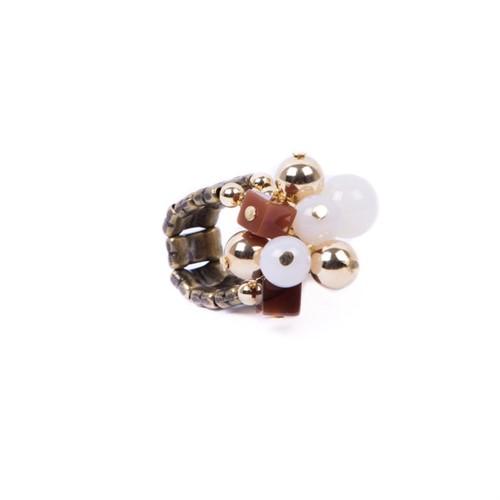 CP.A1 Anel cubinhos e esferas de pedras Ágata e metais banhados a ouro e ouro velho
