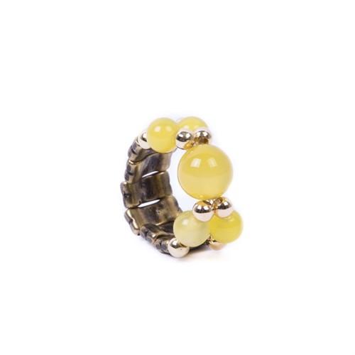 CP.A2 Anel esferas de pedra Ágata e metais banhados a ouro e ouro velho
