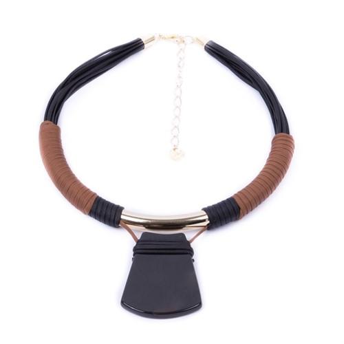 CP.C1 Colar pedra Ágata preta, couro ecológico caramelo e preto, metais banhados a ouro