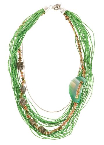 LR.C03 Colar fibras naturais, cascalhos de pedra natural Unakite, pedra natural Ágata verde, pedras naturais de Quartzo grafitado.