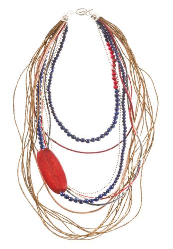LR.C09 Colar fibras naturais, esferas de madeira, fios couro, placa de osso.
