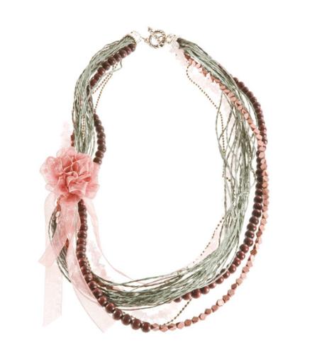 LR.C15 Colar fibras naturais, fitas de chifon, cascalho de pedra natural Quartzo Rosa, esferas e contas de madeira.