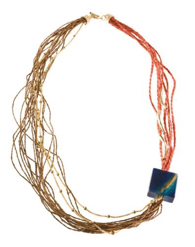 LR.C19 Colar fibras naturais, fios de sisal e pedra natural cubo Ágata.