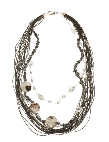 LR.C25 Colar de fios de palha de arroz, cascalho de pedra natural Obsidiana e pedras naturais de Jasper Cinza.