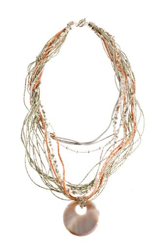 LR.C29 Colar fibras naturais, fios de sisal, fios de camurça, cascalho de pedra natural Howlita e pedra natural Ágata.