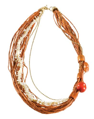 LR.C30 Colar de fios de palha de arroz, cascalho natural de Coral, semente de jarina, bambu e pedra natural Ágata.