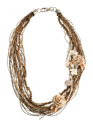 LR.C34 Colar fibras naturais, cascalhos de pedra Jaspe madeira, fios de papel reciclado, fios de sisal, flores de palha de bananeira e pedras