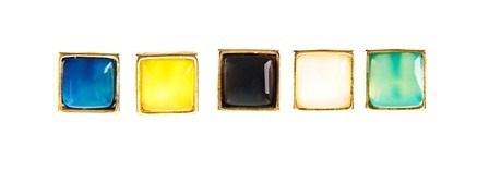 EPB.2 Brinco ponto quadrado de pedra natural Ágata e metais folheados a ouro.