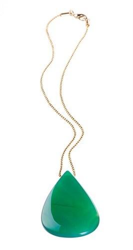 EPS.V10 Colar pingente com pedra brasileira Ágata verde e corrente banhada a ouro.