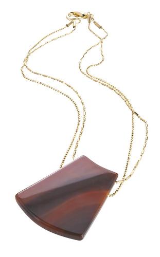 EPS.M5 Colar pingente com pedra brasileira Ágata marrom e corrente banhada a ouro.