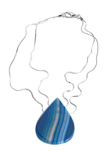 EPS.A3 (AZUL) Colar pingente com pedra brasileira Ágata azul e corrente banhada a prata ou ouro.