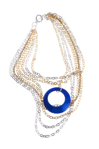 EPM.A9 Maxi colar pedra Agata e correntes banhadas a ouro, ouro velho e paládio