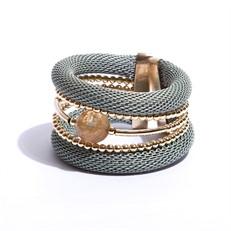 BCTD.8.V (verde bebê) Bracelete malha de aluminio, Pedra Natural Quartzo Rutilo e metais banhados a ouro