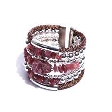 JC.BCT10 Bracelete pedras Jade Morango e Rodocrosita em cascalho com metais banhados a prata