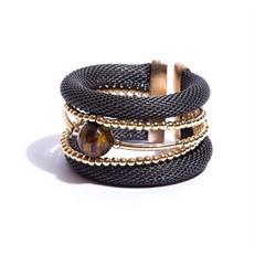 BCTD.8.CH (chumbo) Bracelete malha de aluminio, Pedra Natural olho de tigre e metais banhados a ouro