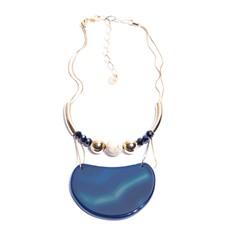C.X107.A (azul) Colar pedra meia lua Agata, pedra howlita, Cristais e metais banhados a ouro