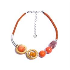 JC.C13 Colar curto pedras Jade laranja, Jade mostarda, Jade morango e metais banahdos a prata