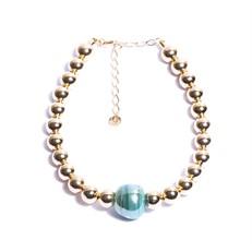 C.X126.OA (azul) Colar esferas de metais banhados a ouro e murano