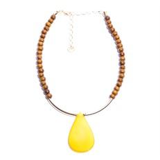 M.C21.AA Colar Gota de Pedra Ágata amarela, contas de madeira e metais banhados a ouro