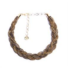 FN.C1.M (MARROM) Gargantilha Fibras naturais (palha de arroz) e metais banhados a ouro, prata e grafite