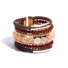F16.BCT6.M  Bracelete Pedras naturais Quartzo Rutilo, Cristais e metais banhados a ouro
