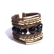 F16.BCT6.P (preto) Bracelete pedra Onix e metais banhados a ouro