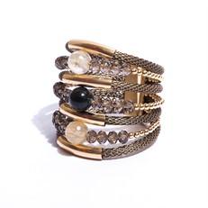 F16.BCT11 (JASPE VERDE) Bracelete pedra Jaspe Verde, Quartzo Rutilo, Cristal e metais banhados a ouro