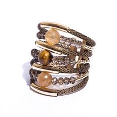 F16.BCT12 (OLHO DE TIGRE) Bracelete pedra Olho de Tigre, Quartzo Rutilo, Cristal e metais banhados a ouro