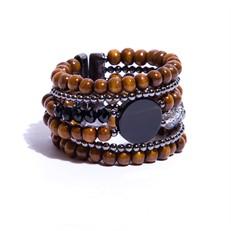 BCT.J03.P (preto) Bracelete contas de madeira certificada, pedra Ágata, cristais e metais banhados a grafite