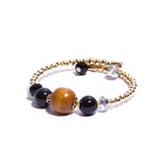 P.J04.P (preta) Pulseira madeira certificada, pedra agata, cristais e metais banhados a ouro